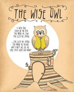 Owl Print, Woodland Decor, Owl Quote Print, Owl Woodland Nursery Rhyme Print