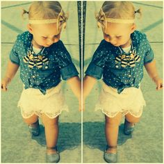 Jean shirt tied in front with white lace shorts - Fashion Tip #19! Love this look for babies and adults!