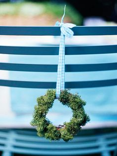 Woodland Chic: Welcome Wreaths  Back of the chairs ~ always inviting ~ rb