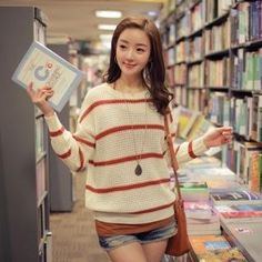 #yesstyle Loose-Fit Striped Knit Top  i still love sweaters...