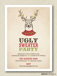 ugly sweater party invite PRINTABLE 5x7 digital by ellieohdesigns, $15.00