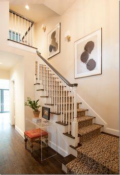 animal print stair runner, entry hallway, leopard stair, stairway, acrylics, foyer, animal prints, stair runners, leopard prints