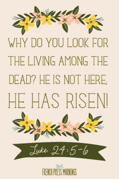 FREE Print to Download in time for Easter - Luke 24:5-5 - French Press Mornings