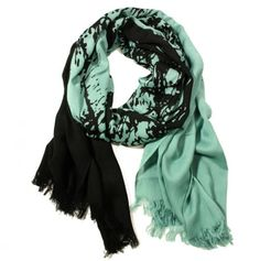 Tree of Life Scarf in Mint and Black