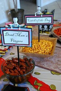"Pirate foods. ""Dead Man's Fingers"" and also maltesers for ""cannon balls""."