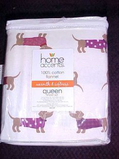 Dachshund Dogs on Queen 100 Cotton Flannel Sheet Set w Pillowcases New w Tags | eBay