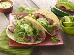 TACOS WITH LIME-JALAPENO CREAM