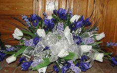 Chiffon Ribbon Iris Italian Lilac Cemetery Flower Tombstone Saddle Mothers Day
