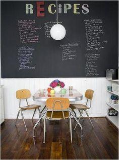 chalkboard wall in the kitchen -
