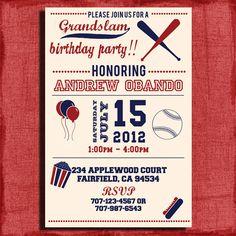 Vintage Baseball Birthday Invitation  4x6 or 5x7 Invitation-Printable and DIY on Etsy, $15.00