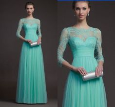 Empire Bateau Mint Green Tulle Lace Applique Sleeves Prom Evening Wedding Dress