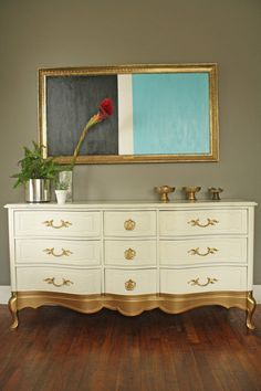 Gold Dipped French Provincial Dresser