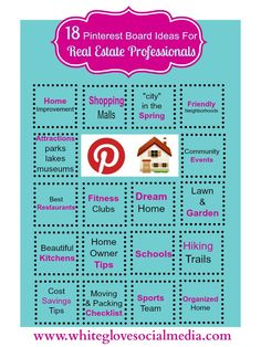 #Pinterest Social Media Marketing: 18 Pinterest Board Tips for Real Estate Agents/Professionals. To find out how you can save time & have a higher performing Pinterest account email us at info@whiteglovesocialmedia.com and we'll book you in to speak to an advisor at at time that suits you.