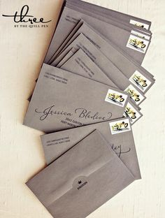 Love the way these invites are addressed. Creative invites.  Addressing envelopes.