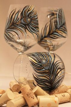 set of 4- Hand Painted Wine Glass: Peacock Design Black-Gold-Turqouise. $120.00, via Etsy.