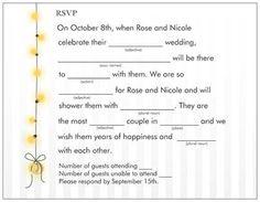 Mad Libs wedding RSVP