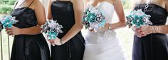 looks good together with black for bridesmaid, use a silver wedding dress instead of white