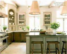 decor, kitchen island lighting, cabinet colors, light fixtur, french countri, corner cabinets, kitchen islands, french country kitchens, dream kitchens