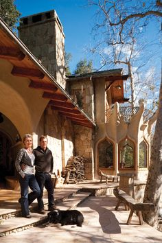 (This is same house as hobbit LR photo I like with fireplace on left and bed built into walls on right.)   Tree Huggers- Ventana Monthly