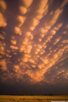 Intense mammatus form over eastern Nebraska