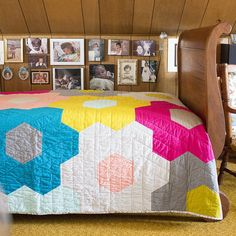 Cute huge hexy quilt in cirrus solids (organic shot cottons)