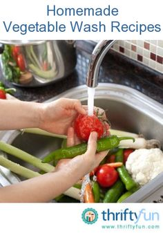This page contains homemade vegetable wash recipes. It is important to wash your vegetables and remove any pesticides and dirt form their skin. Making your own vegetable wash is simple and affordable.