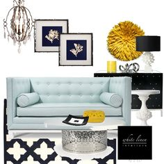 Interior design board-Living Room  baby blue sofa with pops of sunshine yellow.-WhiteLinenInteriors.net