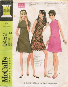 1960s McCall's 9452 Vintage Sewing Pattern