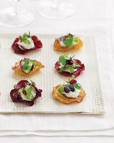 Beet Chip and Goat Cheese Hors d'Oeuvres