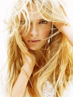 Honey blonde hair.