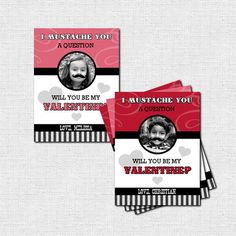MUSTACHE VALENTINE CARDS School Valentine's Day Class Party (printable)