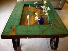 Coffee table made from reclaimed door.