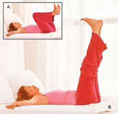 Low impact workout that starts in bed, warming and stretching.