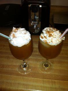 Hello fall! 1oz Carmel apple pinnacle, 3oz apple cider, whipped cream, pumpkin pie spice.
