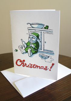 Eggnogging Elf holiday card holiday cards