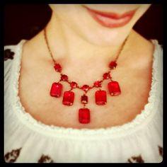 pretty poppy red vintage rhinestones