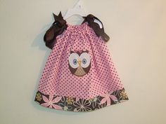 Pink/Brown Dots Pillowcase Dress with Flower Cuff with Owl Applique-owl, birthday, dress, girl, toddler, baby,pink, brown, flowers, pillowcase dress, outfit, set, clothing, summer, fall, clothing, clothes