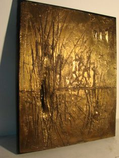 Great art idea.  Get an old thrift store canvas, string and metallic paint.
