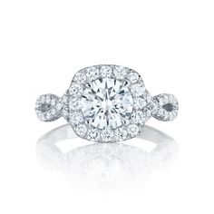 hello gorgeous.   Tacori style no. HT2549CU75. Love a cushion shape? Tacori has the ring for you! A stunning bloom filled with brilliant white diamonds creates a innovative cushion shape where a round diamond perfectly fits within.