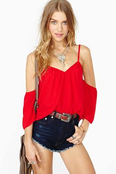 Red Spaghetti Strap Off the Shoulder Loose Blouse 13.67 // for drinking nights somewhere in Central America
