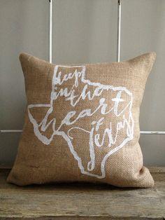 "Burlap Pillow- ""Deep in the Heart of Texas"""