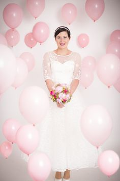 Pink balloon wedding