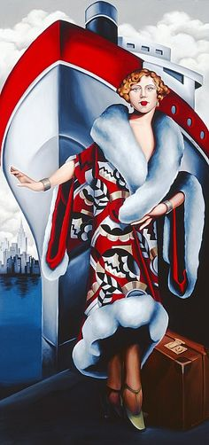 """""""Bon Voyage"""" by Catherine Abel -- Art Deco Painting (Oil on Canvas)"""
