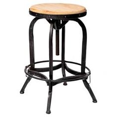 """Showcasing an adjustable metal frame and weathered oak seat, this industrial-chic barstool adds a stylish touch to your game room or kitchen counter.    Product: BarstoolConstruction Material: Wood and metalColor: Weathered oak and blackFeatures: Adjustable seat Bar foot rest  Dimensions: 26-33"""" H x 18.5"""" Diameter"""