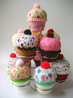 Kawaii Plush Cupcakes Fabric Felt Bean Bag Plushies $20 for a set of 4!