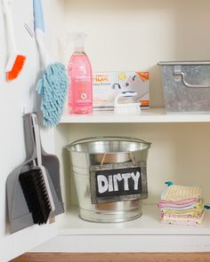 Lots of helpful ideas on how to make a cleaning station for kids and get them involved with helping out - love the look too!
