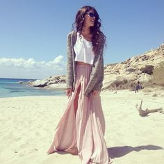 fashion, crop tops, beach outfits, pale pink, long skirts, at the beach, summer outfits, beach styles, maxi skirts