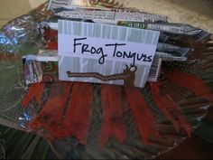 "Jude's Swamp / Bayou Theme Birthday Party food ideas recipes ""Frog Tongues"" (red fruit roll up cut ""v""s for tongue look)"
