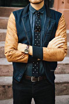 September 6 , 2013. Jacket:Varsity Jacket Shop- $78Shirt:Frank  Oak- $35 (similar)Tie:Knit Polkas- The Tie Bar - $15Tie Bar: c/oThe Suited ManPants:American Apparel Slim Slack- $15 (Buffalo Exchange)Shoes:Banana Republic Hyde Oxford- $90 (40% off coupon)Sunglasses:Ray Ban Clubmasterin Tortoise - $89Belt: Land's End Canvas - $12 (similar)Watch:Timex- Amazon - $31