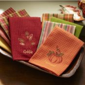 Turkey & Pumpkin Towels Embroidered motif on one towel. Plaid, striped and solids in waffle-weave and woven towels. Cotton; machine wash. Imported.